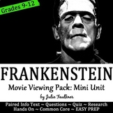 Frankenstein Movie Viewing Pack, Mini Unit, Close Reading,