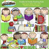 Freddy & Freida Reading Kids Clip Art