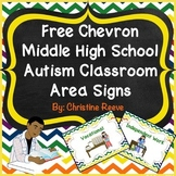 Free Chevron Middle-High School Autism Classroom Area Sign