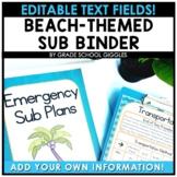 Free Editable Beach Themed Substitute Binder