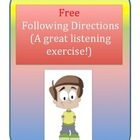 Free Following Directions and Listening Skills Page