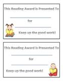 Free Reading Award Certificate