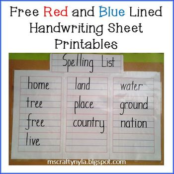 Free Red and Blue Lined Handwriting Sheets