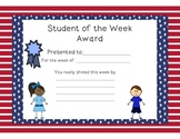 Stars and Stripes Student of the Week Certificates and Sma
