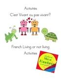 French Living or Non-Living activities -  Vivant ou pas vivant