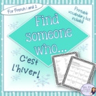 French find someone who...winter vocabulary - c'est l'hiver