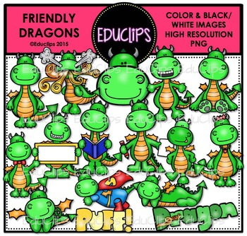 Friendly Dragons Clip Art Bundle