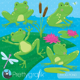 Frog pond clipart commercial use, vector graphics, digital