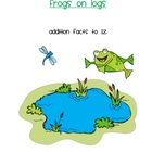 Frogs on Logs -  file folder game or center - addition to 12