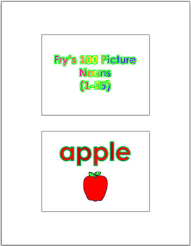 Fry's 100 Picture Noun Words (1 - 100) PowerPoint & Flash Cards