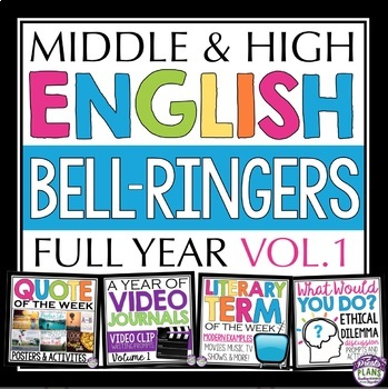 A YEAR OF ENGLISH CLASS STARTERS: Prompts, Literary Terms, Quotes & Discussion