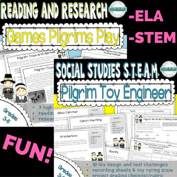 Games Pilgrims Play Bundle: Reading, Research, and STEAM!