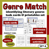 Genre Match - identifying literary genres ELA task cards +