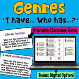 Genres: I Have... Who Has...?    Whole Class Activity Game