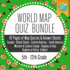 Geography & World History: World Map Quizzes / Quiz Bundle