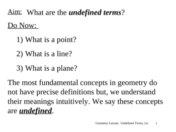 Geometry Lesson 1: Undefined Terms