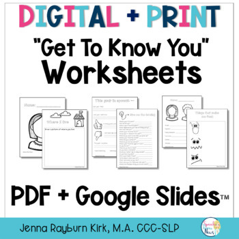 Get To Know You Worksheets: Speech Therapy PreK-High School