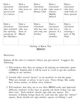 Getting To Know You- BINGO