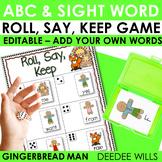 Gingerbread Man Sight Word and ABC Roll, Say, Keep-Editable