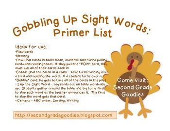 Gobbling Up Sight Words:  Primer List