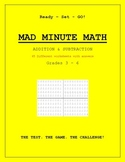 Grade 3, 4, 5, 6 Math  - MAD MINUTE MATH - Addition and Su