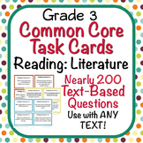 Task Cards - EDITABLE Text-Based Questions for ANY TEXT - Grade 3