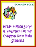 Grade 4 Scope and Sequence for the Common Core Standard