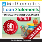 Sixth Grade Common Core Standards Posters I Can Statements - Math