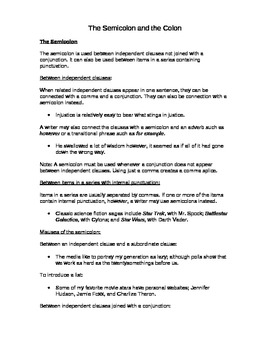 Grammar - Colon and Semi-Colon Notes and Worksheet