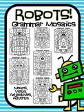Grammar Robots! Parts of Speech Grammar Mosaic- Color By P