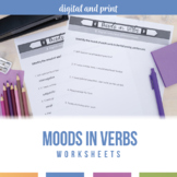 Moods in Verbs Worksheet