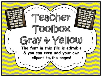 Teacher Toolbox Labels (Editable) ~ Gray & Yellow