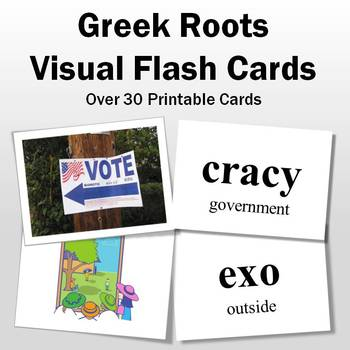 Greek and Latin Roots: Greek Roots Visual Flash Cards-Part 2
