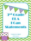 Green Chevron 3rd Grade ELA Common Core I Can Statments