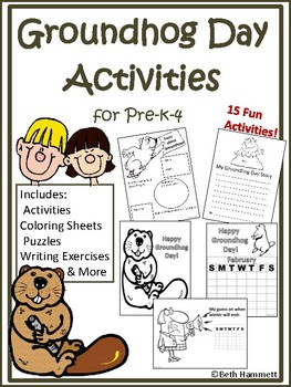 Groundhog Day Activities: Coloring, Facts, Puzzles, Writin