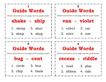 Guide Word Task Cards