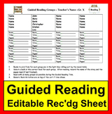 Guided Reading Recording Sheet -Ready to Edit