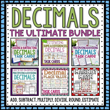 HUGE Decimals Bundle Pack Add, Subtract, Multiply, Divide, Round, Expanded Form