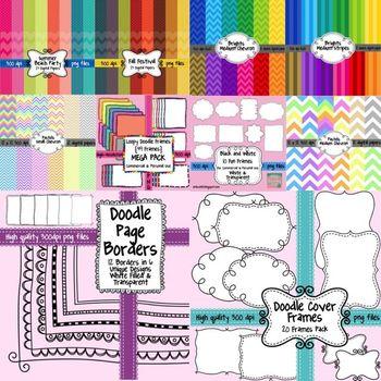 HUGE Seller's Toolkit Bundle - Digital Papers, Borders, Frames, and Fonts!