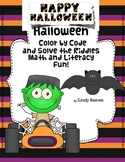 Halloween Color by Code and Riddles Math and Literacy Printables