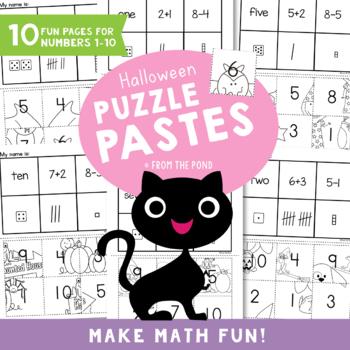 Halloween Puzzle Pastes - Number Concepts - Cut Paste Worksheets
