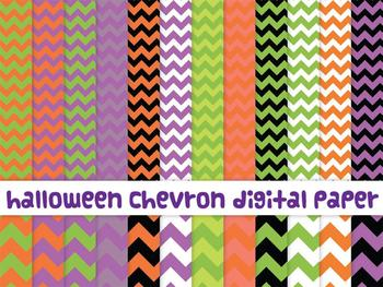 Halloween chevron digital paper