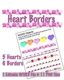 Heart Borders & Clip Art - PNG files & editable WORD file
