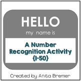 Hello My Name Is {number recognition activity from 1-50}