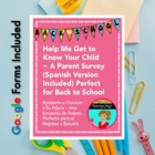 Parent Survey: Help Me Get to Know Your Child {English & S