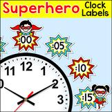 Telling Time Clock Labels - Superhero Theme