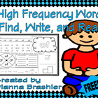 High Frequency Words find, write, and read 1-10