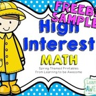 High Interest Math Activities - SPRING THEMED FREEBIE SAMPLER