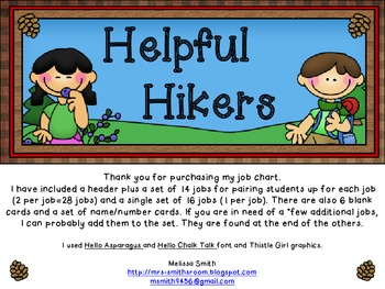 Hiking Helpers Job Chart