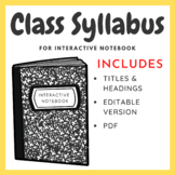Class Syllabus - Can be adapted to any subject!